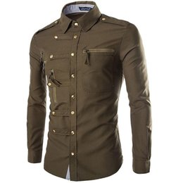Wholesale snap top for sale – custom 2020 New Men s Long Sleeve Shirt Style Fashion Cool Trend Snap Slim Shirt Casual Workwear Top Casual Shirts