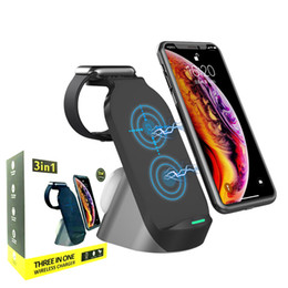 Wholesale dock stations resale online - 3 in W Fast Wireless Charging Dock Station for Apple Watch Airpods Pro iPhone Pro Max Samsung Huawei Qi Charger