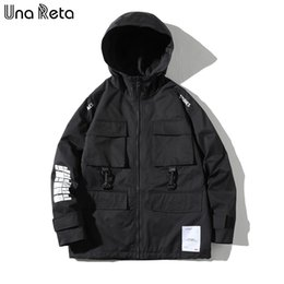plus size clothing streetwear Canada - Una Reta Jacket New Hip-Hop Men Clothing Streetwear Pockets Zip Jackets With Hooded Korean Style Plus Size Coat