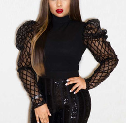 Wholesale puff o plus resale online - 2021 Women Plus Size Puff Sleeve Mesh See Through Long Sleeve O Neck Top Shirt Black Spring Fall Chic Slim Shirt