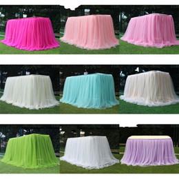 Wholesale Snow Yarn Table Skirt Wedding Birthday Cake Check In Desk Solid Color Dessert Tables Cover Curtain Surround Grey Tablecloth New 30ld M2