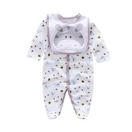 Wholesale Top Cotton Long Sleeve Baby Rompers newborn bibs 2pcs boy clothes kids Outfits girls clothing Set Jumpsuit
