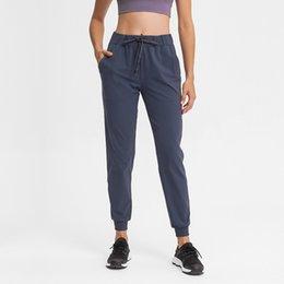 Toptan satış L-96 Klasik Jogger Egzersiz Pantolon Drawcord Elastik Bel ile Cep Ter-Wicking Yoga Koşu Fitness Dans Eğlence Kadın Pantolon
