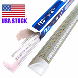 Wholesale V-Shaped 2ft 3ft 4ft 5ft 6ft 8ft Cooler Door Led Tubes T8 Integrated Led Tubes Double Sides Led Lights fixture Stock In USA