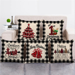 hugging pillow cover Canada - Merry Christmas Pillowcase Cover Plaid Pillowcase Cover Linen Hugging Pillowcase Sofa Throw Pillow Covers Home Supplies 15 Designs BT799