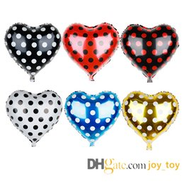 heart foil balloons NZ - 18 inch Polka Dots Foil Balloons Heart Shaped Balloons for Valentines Wedding Birthday Party Festival Decoration