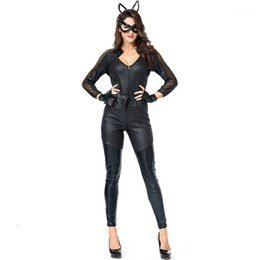 ingrosso signora sexy del gatto cosplay-Jiezuofang Sexy Lady Lady Halloween Black Cat Costume Donna Costumi Cosplay Allegata Cuddly Costume animale Stage Performance1