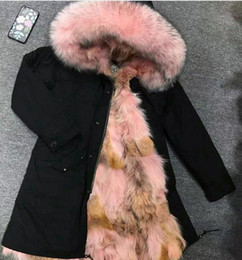 Wholesale coyote fur collar resale online - Cold resistant wolf fur jackets pink raccoon fur trim Mukla furs brand Women snow jackets pink brown coyote fur lined black long parka