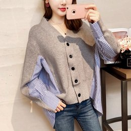 Wholesale fake sweater for sale – custom evXL8 New coat Coat shirt Sweater knitted Korean shirt2020 stitching striped shirtwomen s V neck loose fake two piece sweater cardigan autumn