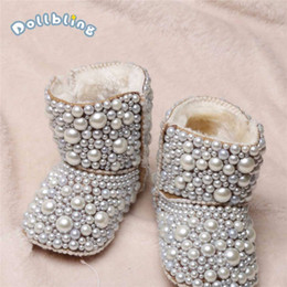 baby custom shoes Canada - Newborn Baby Custom Plus Velvet Warm Boots Infant Cotton Luxury Shining Pearl Decoration Boots Shoes For Autumn Winter C1005