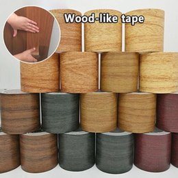 pink living room furniture UK - Anti-mold waterproof tape, simulation wood grain high-viscosity tape, beautify furniture floor repair tape, wood grain household decoration
