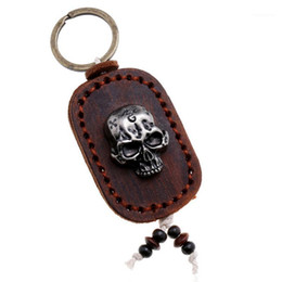 skull car accessories Australia - Gothic Skull Punk Hiphop Alloy Keyring Key Chain Black Brown Genuine Leather Car Keychains Bag Accessories Fashion Rock Jewelry1
