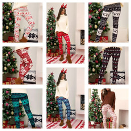 Wholesale women skinny leg tights resale online - Plus Size Christmas Leggings Pant Xmas Tree Snowflake Elk Printing Pants Skinny Tights Legging Women Bootcut Stretchy Pants Trousers E111105