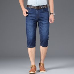 Wholesale jeans capri for sale - Group buy TULmE Summer jeans medium pants men s jeansstretch and jeanstrousers and pants denim Capri denim men s straight loose jeans bjvN