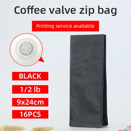 bags square bottom NZ - 16pcs 1 2 pound 250g matte black coffee bean one side degassing valve packaging bag block bottom stand up coffee pouch
