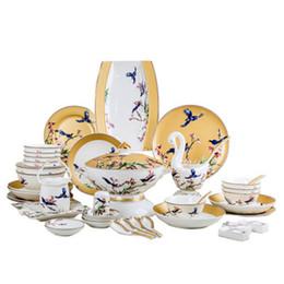 Wholesale magpie on the tree 60pcs bone china dinnering plates Wholesale price ceramic plates tableware luxury overglazed color dinnerware set