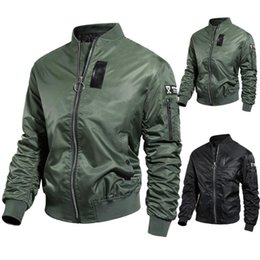 Wholesale leather jacket asian for sale – winter Bomber Jacket Autumn Winter Jacket Men Casual Solid Long sleeved Stand Collar Leather Coat Men s Windbreakers Asian Size