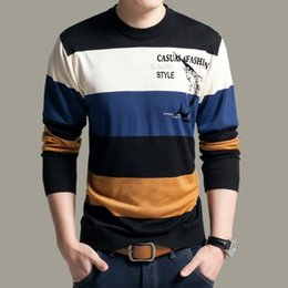 Wholesale knitted crochet summer sweaters resale online - Spring Summer Men s Sweaters Long Sleeve Casual Clothing Round Neck Striped Knitted Tops Fashionable Wear