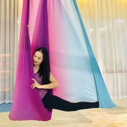 best swings 2020 - 5m Colored Aerial Yoga Hammock Elasticity Swing Multifunction Yoga Training Belts 5m Colored Best Inexpensive bbyznk bde