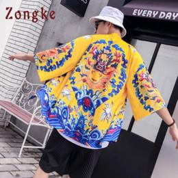 Wholesale chinese dragon kimono resale online - Zongke Dragon Kimono Cardigan Men Chinese Style Long Kimono Cardigan Men Loose Beach Male Casual Jacket Coat