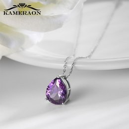 real amethyst pendant necklace NZ - Real sterling silver necklaces 925 for women chain December birthstone cubic zirconia necklace Amethyst collar pendant jewelry LJ201009
