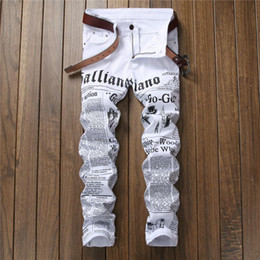 Wholesale jeans words for sale – denim New White Mens denim Jeans Straight New Brand with printed words Male Pants Slim jeans for men plus size Trousers