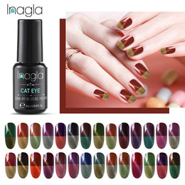 nude uv color gel 2021 - Inagla Thermal Cat Eye Nail Polish 8ml Temperature Color Changing Soak Off UV Gel Magnetic 3D Long Lasting Cat Eye Gel Varnish
