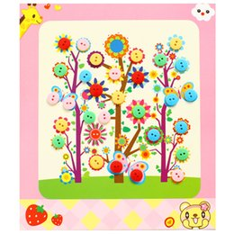 Wholesale 2020 Childrens DIY Button Stickers Handmade Paste Material Package Kindergarten Creative Diamond Button Painting Toys Childrens DIY Button