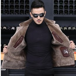 Wholesale wool leather jacket resale online - Genuine Leather Jacket Winter Short Real Sheepskin Coat for Men Natural Wool Liner Chaqueta Cuero Hombre F