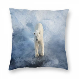Discount predator case Bear Pillowcase Christmas Pillowcase Polar Bear On An Ice Floe Arctic Predator Pillow Case Cover Pillowslip For Car Offi