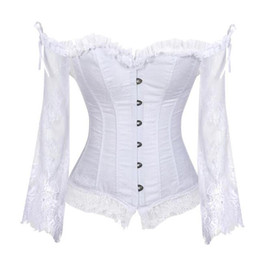 chemises de club de taille plus pour les femmes achat en gros de-news_sitemap_homePlus Size femmes Steampunk Corset Sexy Chemisier à manches longues en dentelle Corselet Lace Up Top bustiers victorienne Club de mariage Party Shirts