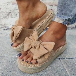 tie slip dress Canada - Women Bowknot Slippers 2020 Summer Casual Beach Muffin Slip on Platform Ladies Sandals Dress Party Peep Toe Female Sandals Y200702