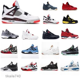 neon sport shoes UK - 4S white sail SE Neon 2020 black cat Jumpman 4 Basketball Shoes metallic green trainers Travis scotts purple Men sports sneakers RE019