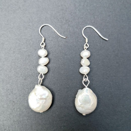 Coin Pearl Earrings 925 Sterling Silver Coin Baroque Freshwater Natural White Pearl Earring Fashion 5 Pairs on Sale