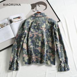 Wholesale military style jacket xl woman resale online – BIAORUINA Women s Military Style Comflagure Printing Denim Jacket Coat Female Single Breasted Loose Jacket Turn down Collar