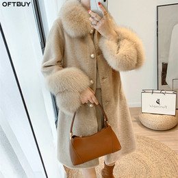 Wholesale shearing coats resale online - OFTBUY Women Winter Jacket Real Granule Sheep Shearing Coat Natural Fox Fur Collar Streetwear Thick Warm Outerwear Casual