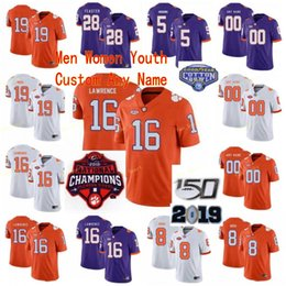 Wholesale customs tees online – design Custom Clemson Tigers College Football Jerseys James Skalski Tee Higgins Chase Brice Deon Cain Men Orange Purple White Stitched