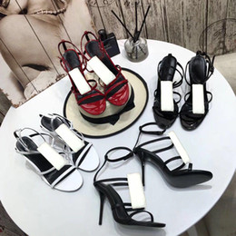 beach Sandals Summer new product Ladies shoes Leather Roman High heeled shoes Metal Button Sexy sandals fashion Banquet Woman shoes 35-41 on Sale