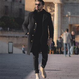 Wholesale mens long casual wool overcoats for sale - Group buy Mens Wool Overcoat Winter Thicken Jacket Men Turn Down Collar Casual Single Breasted Long Woollen Wind Black Male Coat