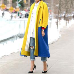 Wholesale color block coat resale online – Ladies Color blocked Lapel Outerwear Fashion Trend Long Sleeve Cardigan Mid length Windbreaker Designer Female Winter New Casual Loose Coat
