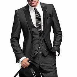 Wholesale groom coat pant tie suits for sale - Group buy One Button Piece Men Suit Slim Fit Coat Pant Design Notch Lapel Wedding Party Blazer Groom Tuxedos Jacket Pants Vest Tie