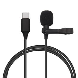 Wholesale types lapels for sale – custom Mini Lapel Lavalier Clip on Recording Microphone Mic for iPhone Huawei Samsung Smartphone USB Type C in mMicrophone