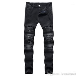 american apparel jeans UK - Straight Pencil Casual Apparel Mens Fashion Designer Jeans Button Fly Zipper Hole Summer Spring Homme Clothing