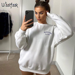 Wholesale women sweat shirts for sale - Group buy Waatfaak White Crewneck Sporty Sweatshirt Women Oversized Embroidery Autumn Fleece Cotton Pullvoer Casual Harajuku Sweat Shirt