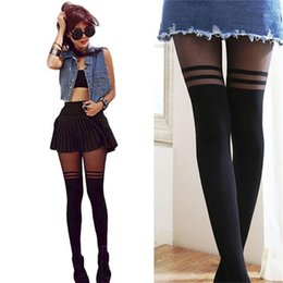 Wholesale black cat pantyhose resale online - Fashion Women Black Sheer Stocking Mock Suspender Tights Cat Pantyhose Stockings Cool Over The Knee Double Stripe Sheer Tights1