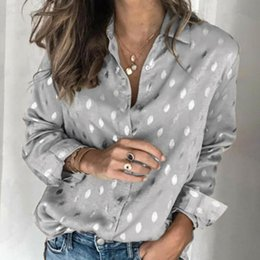 ingrosso senza camicia button collare giù-Camicette da donna Manica lunga Trun Down Collar Polka Dot Stampa Camicetta Casual Button Down Camicia per le donne Ladies Tops Blouse