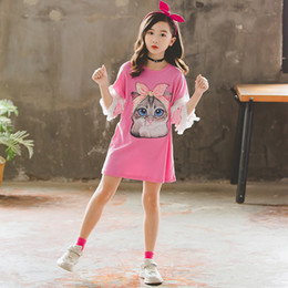 Wholesale birthday shirt for children resale online - Fashion Girls Tops Summer Children Clothing Cartoon Cat T Shirts for Toddler Baby Cotton Short Sleeve Birthday Shirt T