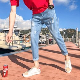 Wholesale loose cut jeans resale online - 8ktE1 Summer men s Korean style bf trendy loose cut DpKiQ slim fit thin Ankle length pants jeans and jeans beggar pants cropped