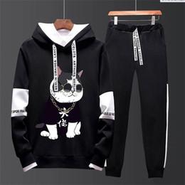 丿丿Men/'s New Casual Wear Printing Suit Men/'s Hooded Sweater Wei Pants Sports Suit