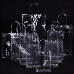 plastic bags storage container 2021 - Vogue Clear Portable Lunch storage Bag Box plastic poly Tote Cooler Bag Bento Pouch Lunch Container School Bags